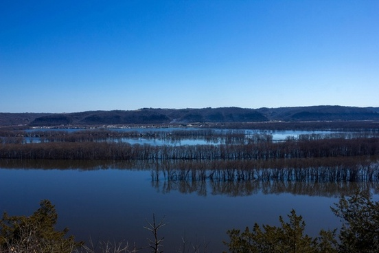 landscape across the river at effigy mounds national memorial iowa