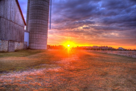 landscape and sunset behind the barn at fonferek039s glen wisconsin free stock photo