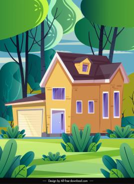 landscape background colorful decor house trees sketch