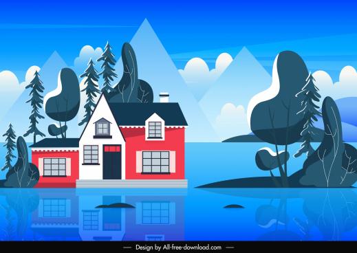 landscape background flat house exterior shiny decor