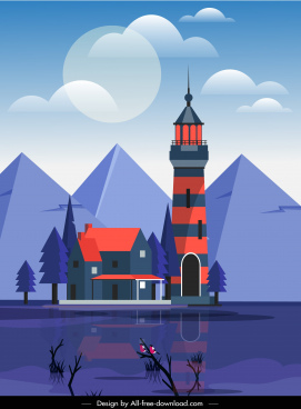landscape background lake mountain architecture sketch colored classic