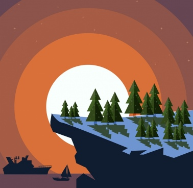 landscape background mountain forest sea icons