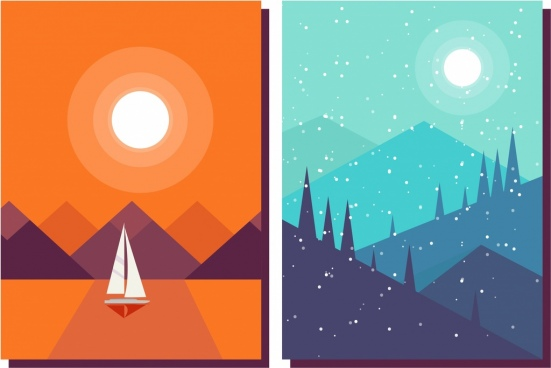 landscape background sets weather themes sea mountain icons
