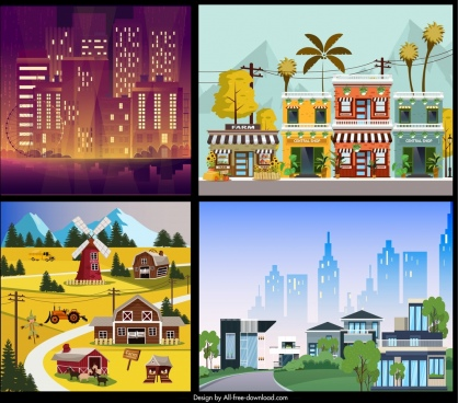 landscape background templates city countryside themes colorful decor