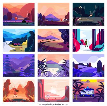 landscape background templates colorful classical design