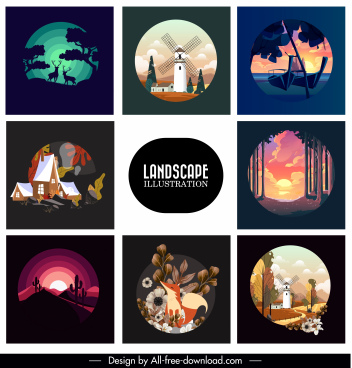 landscape background templates dark bright classic design