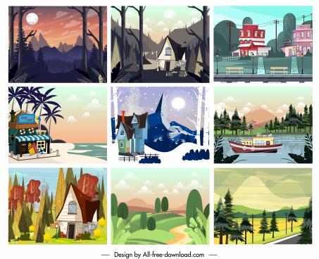 landscape backgrounds collection colorful classic decor