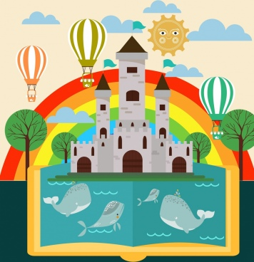 landscape book background colorful rainbow castle whale icons