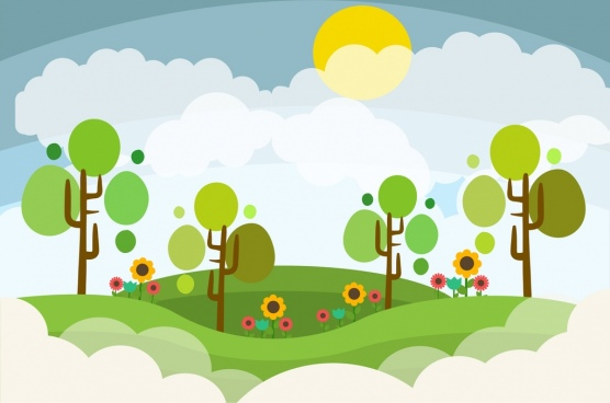 landscape design colored cartoon style