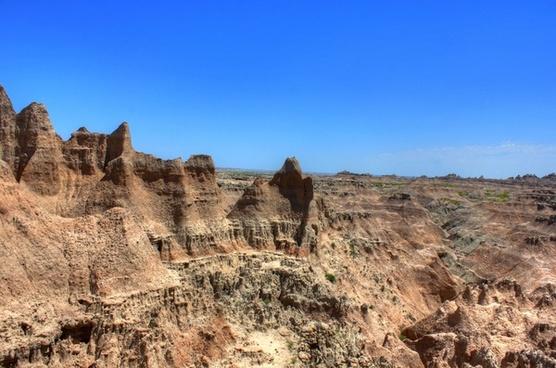 landscape of hills and limestone at badlands national park south dakota