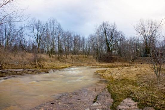 landscape of muddy pathway at fonferek glen wisconsin free stock photo