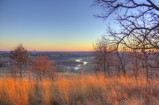landscape of the river at dusk in madison wisconsin