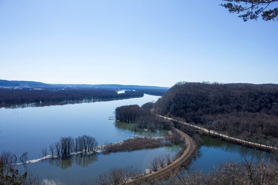 landscape of the wide mississippi at effigy mounds iowa