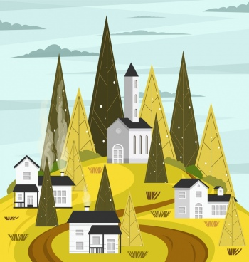 landscape painting houses hill trees icons geometric design