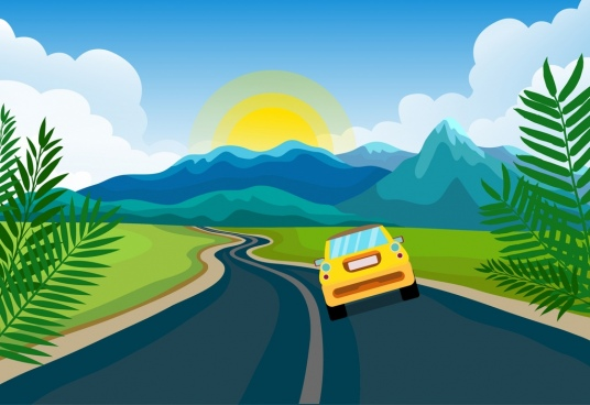 landscape painting mountain road car icons decor