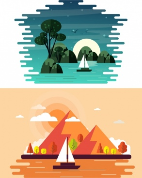 landscape painting sets ship sea trees icons