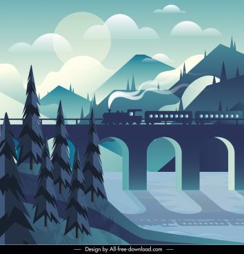 landscape painting train bridge mountain sketch dark classic