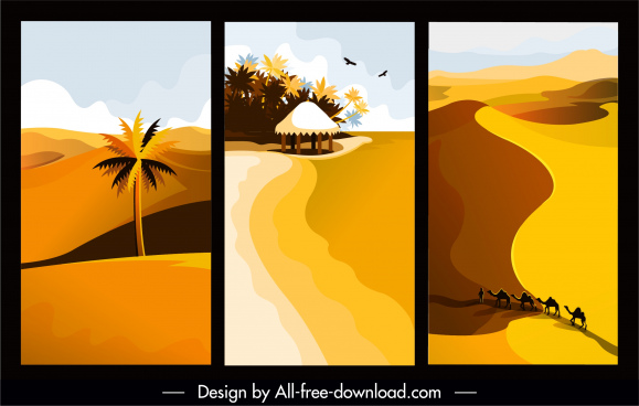 landscape paintings desert beach sketch colored retro design
