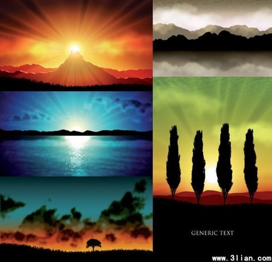 landscape background templates sunset theme colorful design