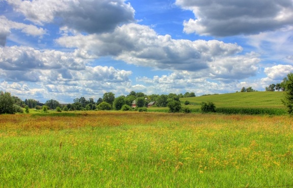 landscape with clouds on the jane adams trail illinois