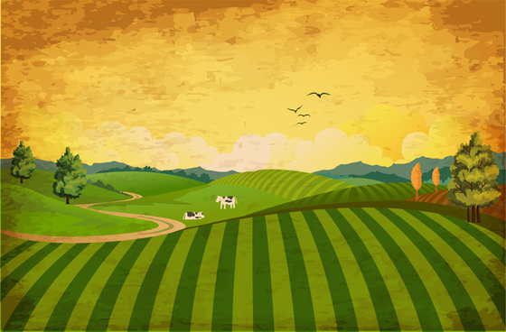 landscape with yellow sky and green field