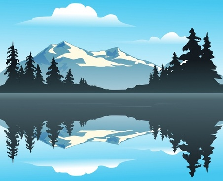 nature landscape background mountain lake icons reflection design