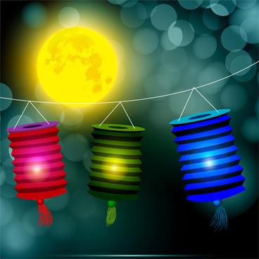 lantern under yellow moon background