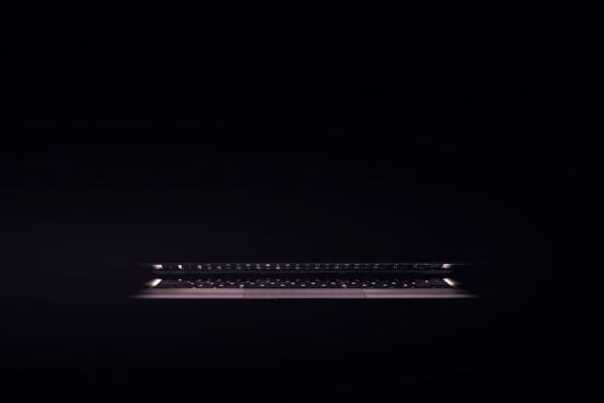 laptop in dark