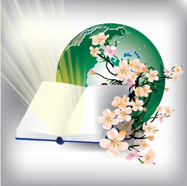 education background book cherry blossom earth decor