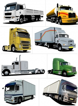 transportation vehicles icons colored modern 3d sketch