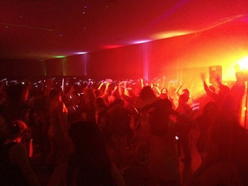 large crowd dancing in club