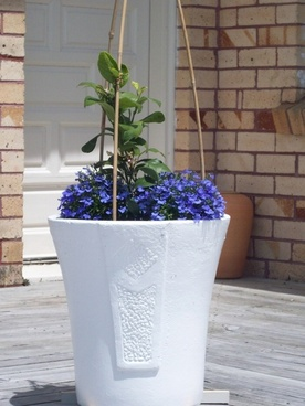 large white garden pot
