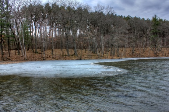 last bit of ice at hartman creek state park wisconsin