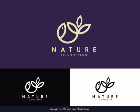 lature logo template leaves decor flat simple sketch