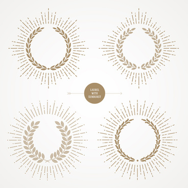 laurel with sunburst vector set