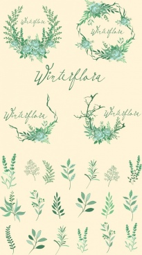laurel wreath design elements green trees retro design
