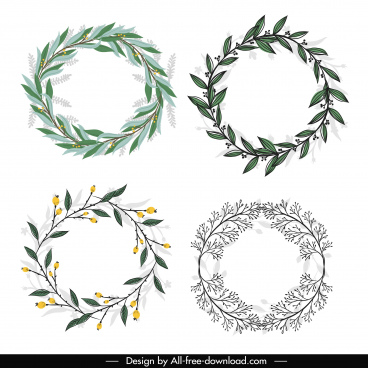 laurel wreath icons colored classical sketch