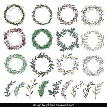 laurel wreath templates floral leaves decor classic design