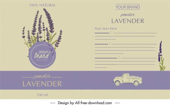 lavender product label template elegant classical purple decor