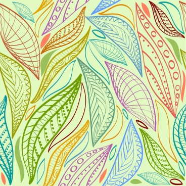 leaf background colorful flat design handdrawn sketch