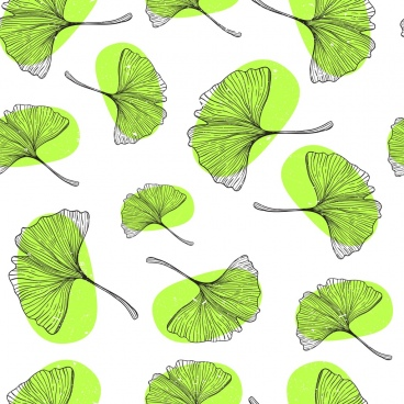 leaf background green icons repeating design