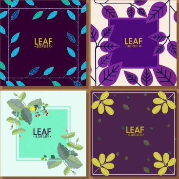leaf borders templates multicolored design