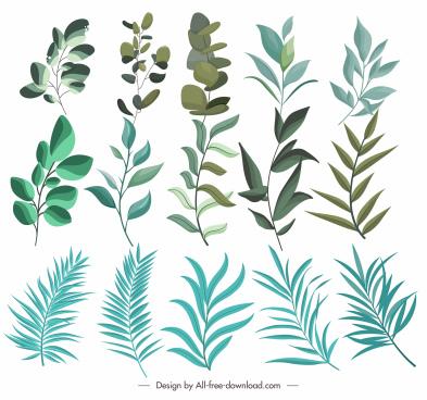leaf icons classic green design