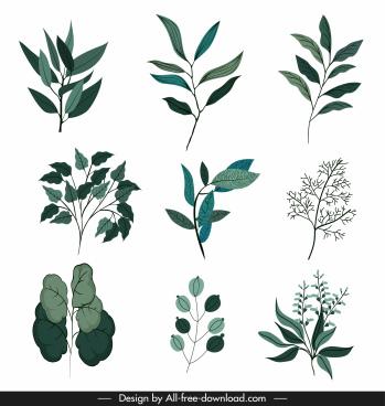 leaf icons classical green handdrawn sketch
