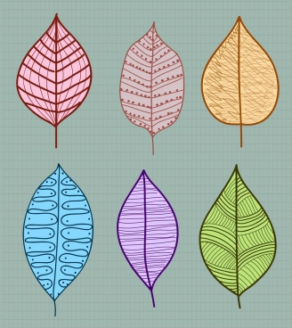 leaf icons collection multicolored flat handdrawn sketch