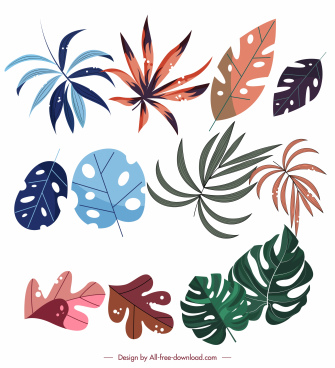 leaf icons colorful flat classic design