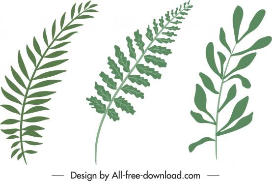 leaf icons green flat handdrawn design