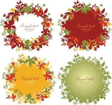 laurel wreath text box templates colorful flat decor