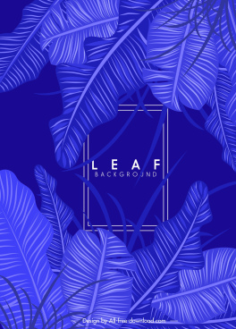 leaf monochrome background dark blue design