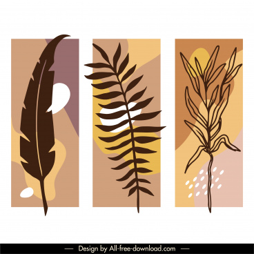 leaf painting templates flat retro handdrawn design